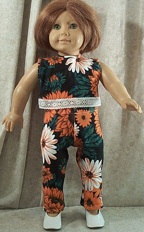 Blue Floral Tights Fits 18 inch American Girl Dolls