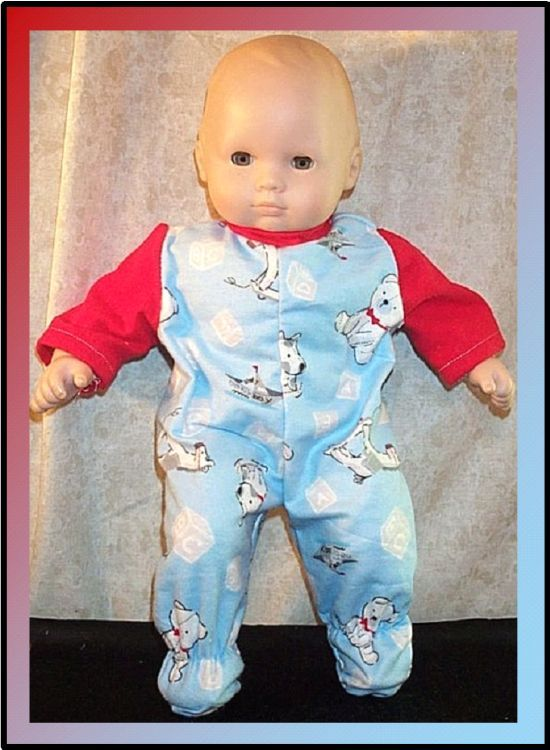 "Doll Clothes Baby Made 2 Fit American Girl Boy 15/"" inch Bitty Pajamas Owls Teal"