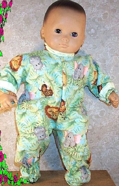 """Doll Clothes Baby HandMade Fit American Girl 15/"""" inch Pj/'s Pajamas Animals"""