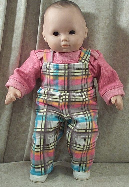 Doll Clothes Baby Made2 Fit American Girl Boy 15 Bitty Overalls Shirt Blue White Check