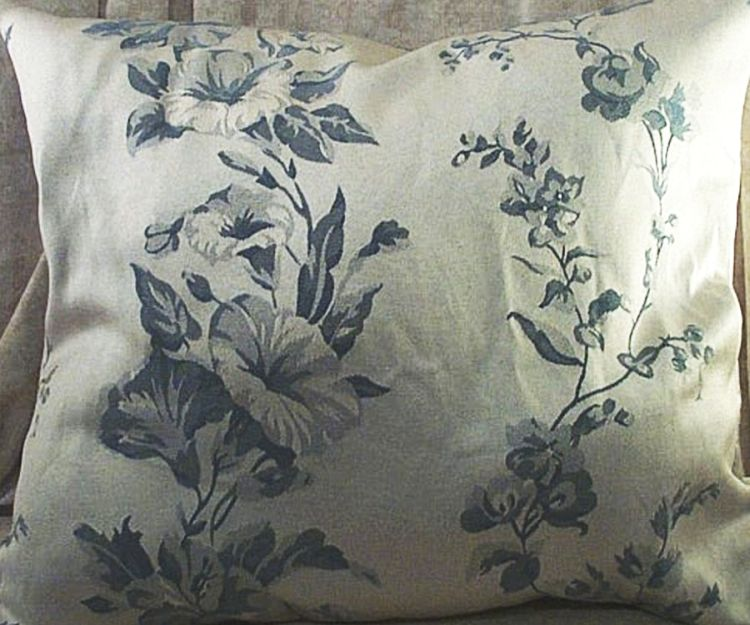 Home Decor Pillow Morning Glories Silver Slate Blue Size 18 Inch Square New Ebay
