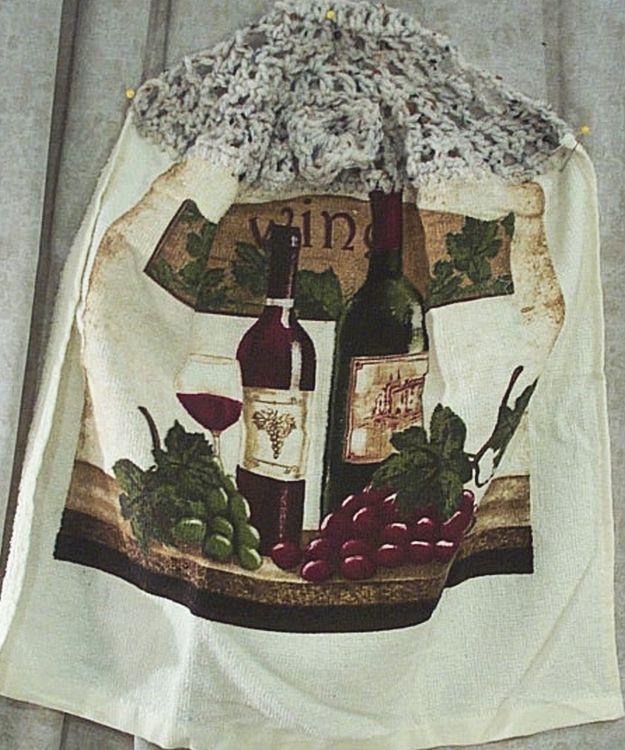 Home Decor Kitchen Hanging Towel Grapes Wine Bottles Ebay
